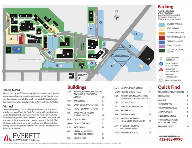 Everett Community College Map